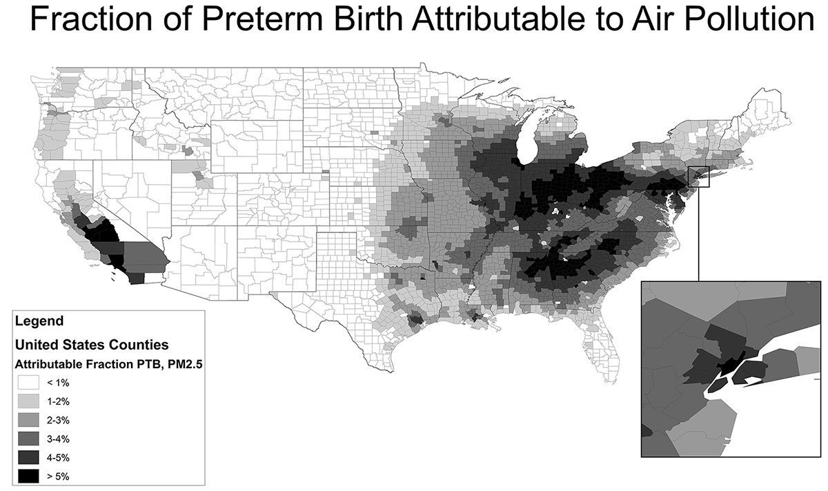 Graph of Fraction of Preterm Birth Attributable to Air Pollution