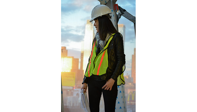 Woman at a Construction Site