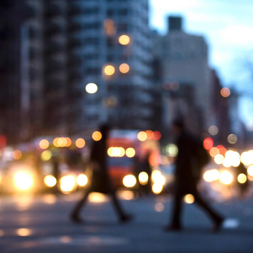 Blurred Image of New York City Street and Pedestrians