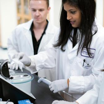 Postdoctoral Fellow Bhama Ramkhelawon in Lab