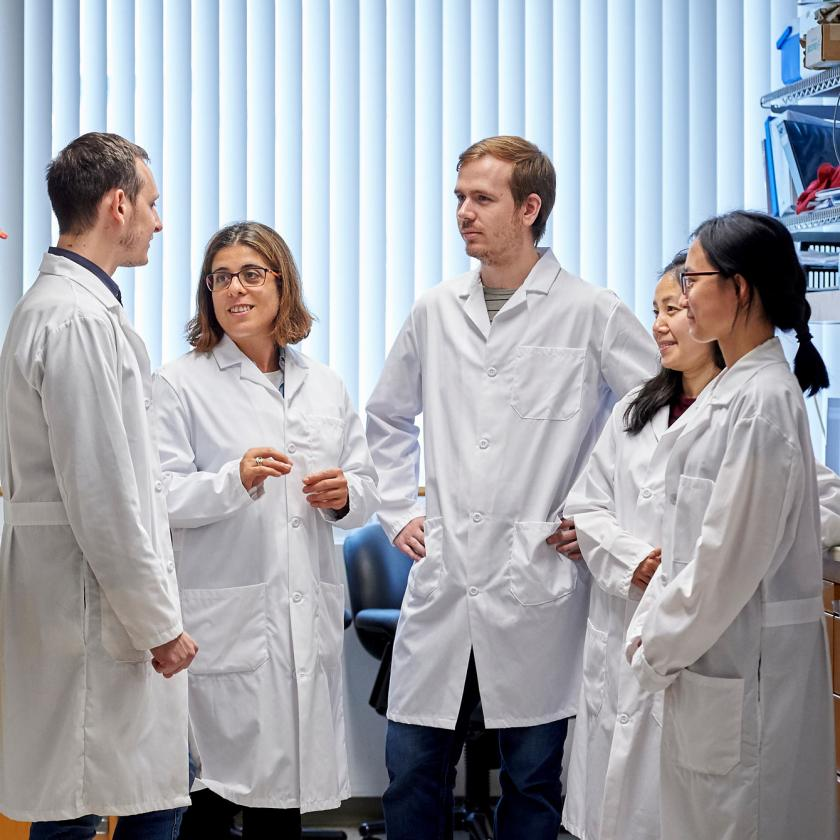 Dr. Agnel Sfeir, researcher at NYU Langone, with other research trainees.